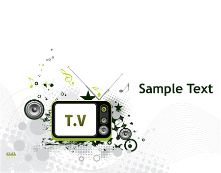 Retro television with grunge music theme  Vector