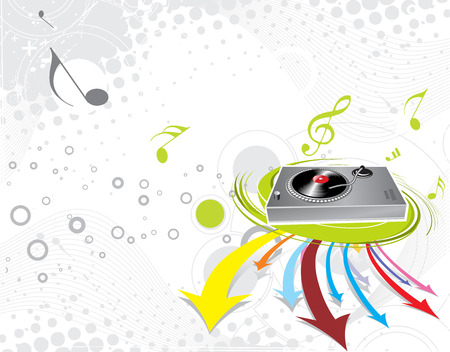 Vinyl player Turntable with arrow background Vector