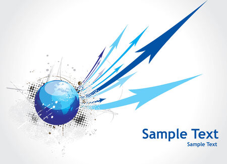 Blue arrow abstract background with grunge globe Vector