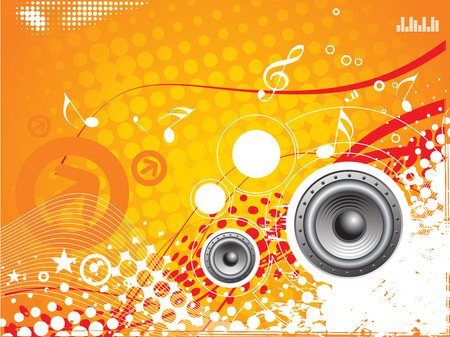music vector composition wih grunge halftone background Vector