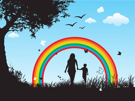 happy family with rainbow background Vector