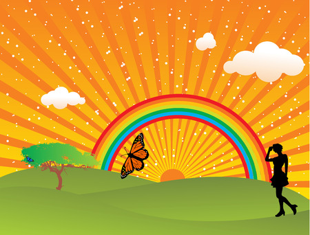 Sun rise with rainbow background Vector