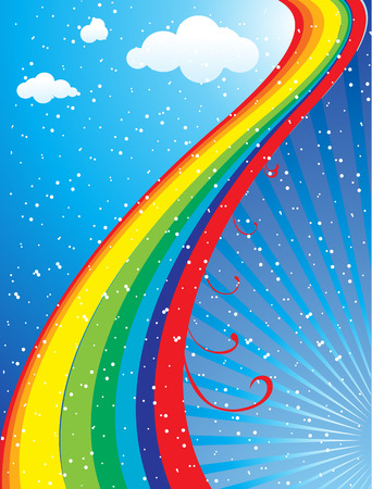 Rainbow concept image surrounded by stars on a blue nights sky Vector