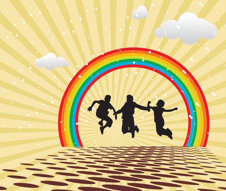 mal: Children Jumping against multi colored backgrounds and rainbow