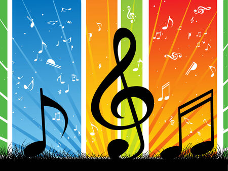 Music note wave with Music theme Vector