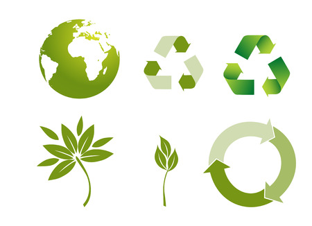 biodegradable: recycle button  environmental conservation symbols Illustration
