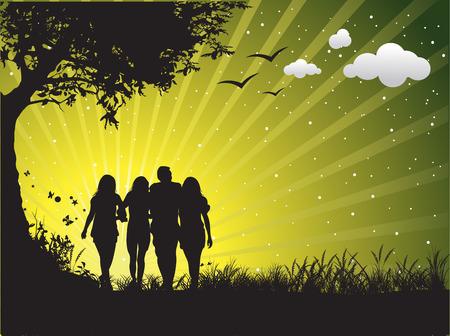 happy family having fun outdoors Stock Vector - 4489970