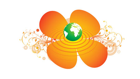 Mystic Globe with Sky and Flower Stock Vector - 4489895