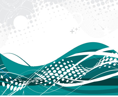 abstract green wave halftone lines background Vector