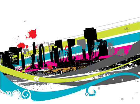 Urban grunge city with swril wave background - vector illustration Vector