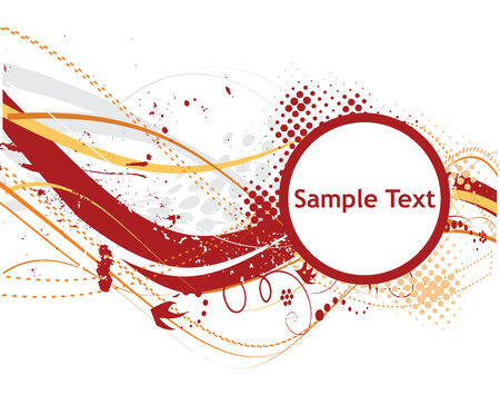 abstract halftone wave lines with floral sample text background Vector