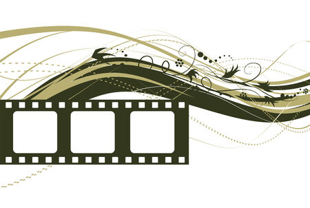 oldies: Film strip with floral wave over the white background