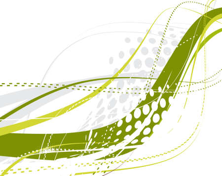 abstract green wave halftone lines background Stock Vector - 4743517