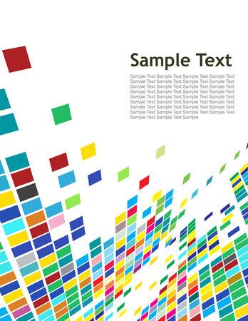 sample text: Resumen del mosaico de fondo blanco con texto de ejemplo