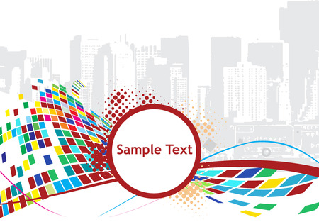 abstract mosaic vector composition with grunge urban city Vector