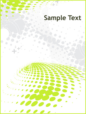 abstract green wave halftone lines background with sample text Vector