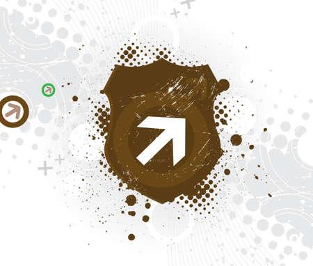 paint chipping: Grunge & hi-tech vector arrow backgrowd