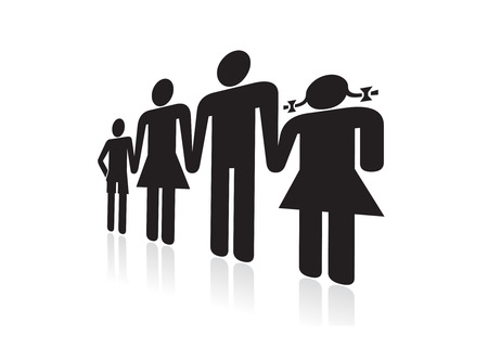 mom and dad: People symbols of a mom dad boy and girl family holding hands