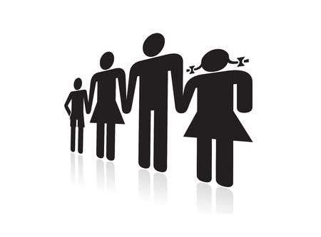 papa y mama: S�mbolos de un pueblo mam� padre de familia ni�os y ni�as cogidos de la mano Vectores