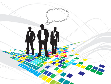 Abstract mosaic background with standing businessman . Vector illustration. Illustration