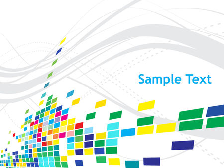 Abstract mosaic white background with wave line with sample test Vector