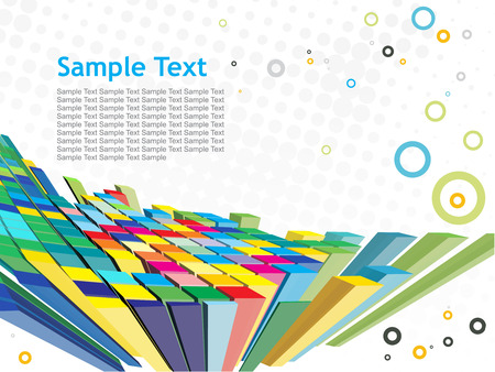 abstract 3d mosaic vector composition with retro sample text background Vector