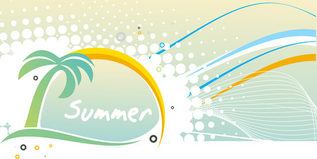Abstract wave line with summer retro pattern for design. Vector