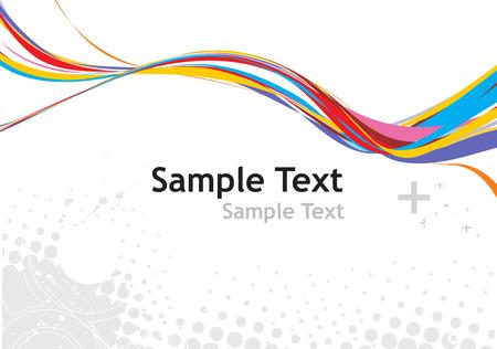 sample text: arco iris de ondas l�nea de fondo con texto de ejemplo