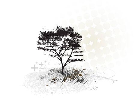 beach panorama: grunge tree frame with halftone background Illustration