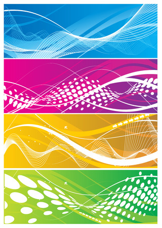Four different abstract wave line background Vector