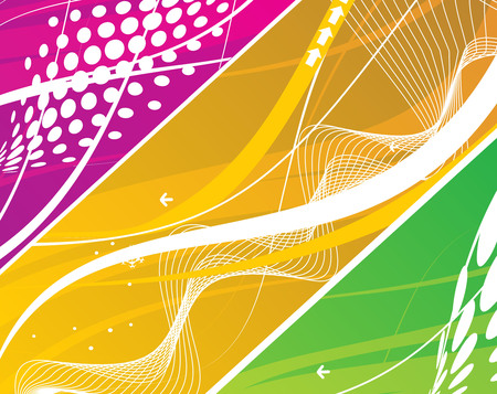 three different abstract wave line background Vector