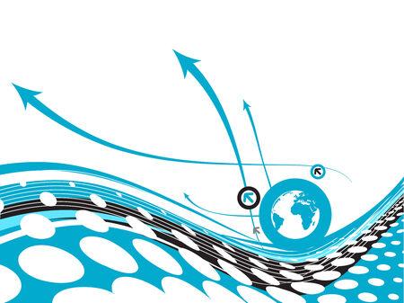 flecha azul: La flecha azul de fondo abstracto con globo c�rculo Vectores