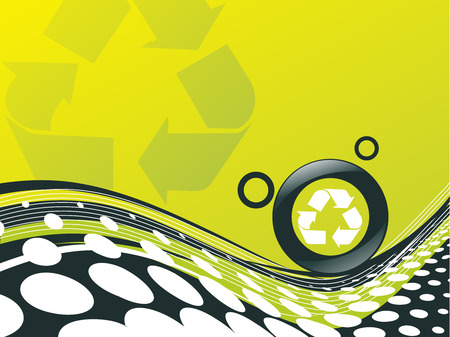 recycle button environmental conservation with wave halftone line Vector