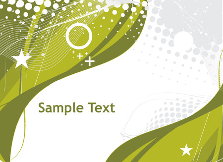 abstract green wave halftone lines background with sample text Stock Vector - 4743776