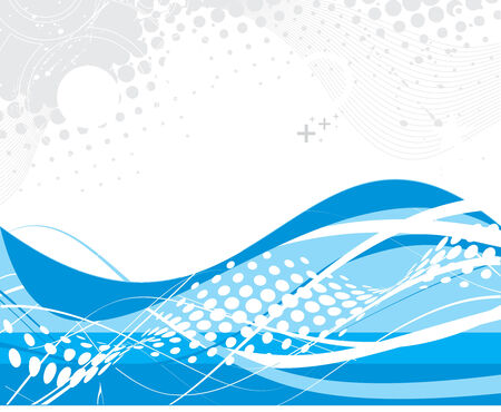abstract blue wave halftone lines background Vector