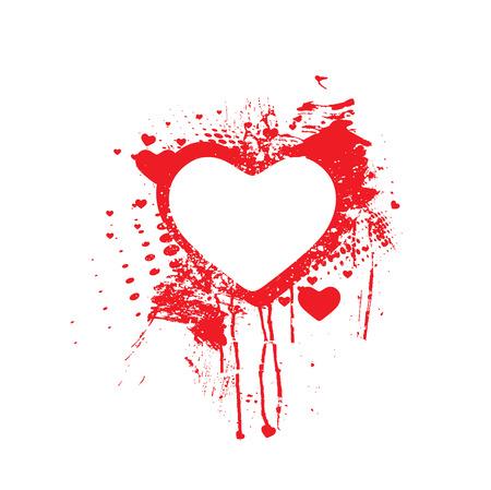 king of hearts: Vector Bloody splatter grunge heart