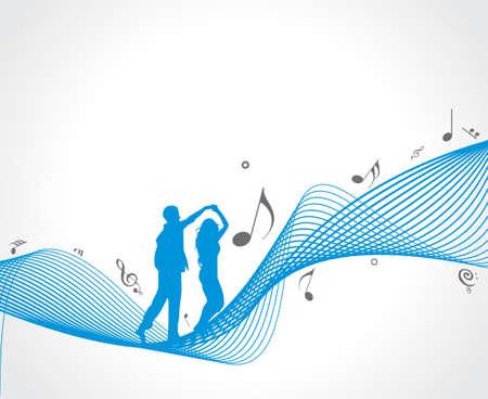 semiquaver: Un coppia danza con le note musicali