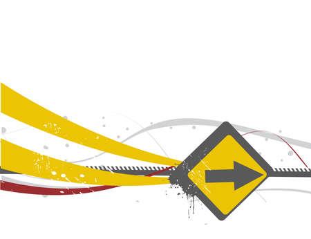 lichtenstein: A Vector - arrow tag with grunge wave line background Illustration