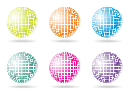 six color retro party background with disco ball, illustration Vector