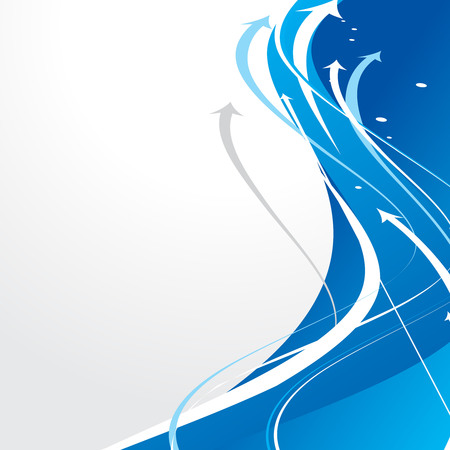 blue arrow: abstract arrow background with red wave line.
