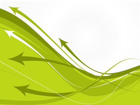 abstract arrow background with green wave line. Illustration