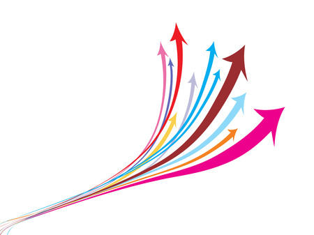 abstract arrow background with multi colour wave line. Vector