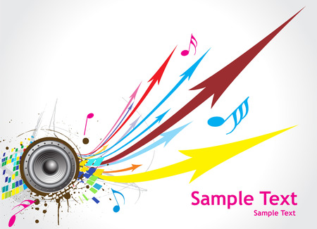 abstract arrow background with grunge music note background Stock Vector - 4753235