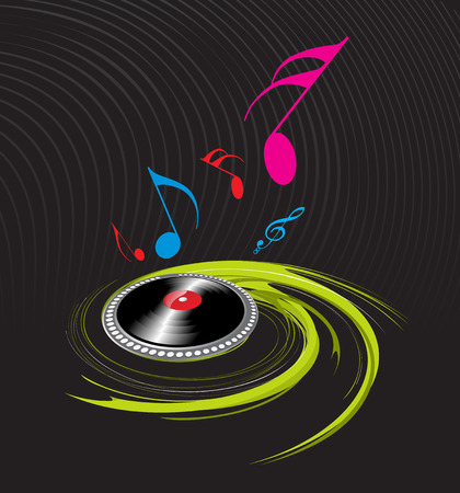 spirals music theme with black background Stock Vector - 4753212