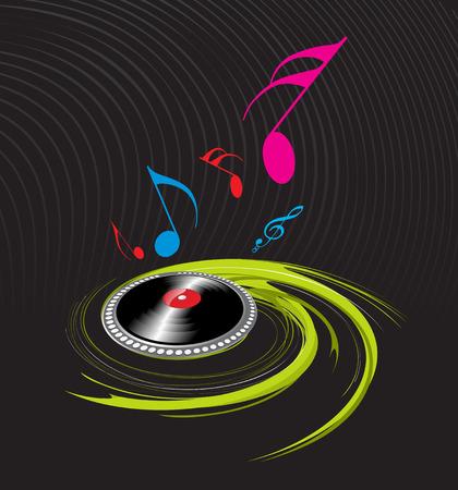 spirals music theme with black background Vector