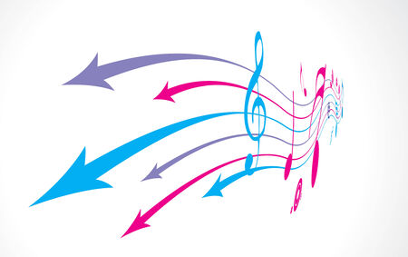 abstract arrow background with music note back ground. Vector
