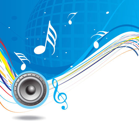 Music theme with wave halftone background Vector