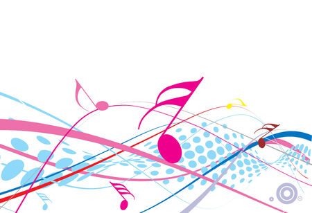 sheetmusic: Musical halftone wave line of musical notes