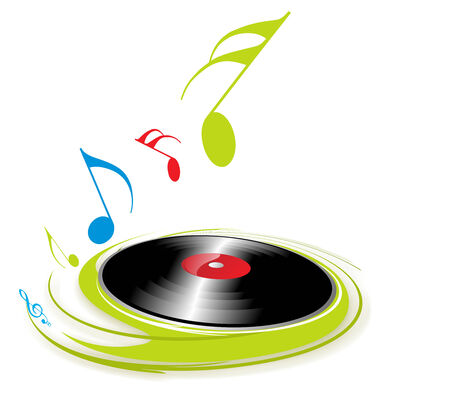 rayures vintage: Musique th�me avec la note de musique de fond