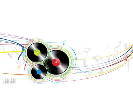 disk jockey: Vinyl Rasta con onde di sfondo Vettoriali